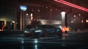 car, sports car, gray, night, asphalt, wet - wallpapers, picture