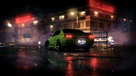 car, sports car, green, night, light, smoke - wallpapers, picture