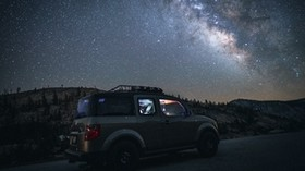 car, SUV, night, mountains, starry sky - wallpapers, picture