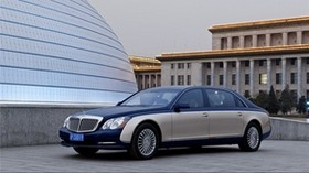 maybach 62 s, white, blue, city, side view - wallpapers, picture