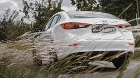 mazda 3, mazda, car, white, rear view, grass, trees - wallpapers, picture