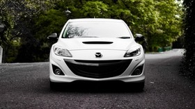 mazda, white, front view - wallpapers, picture