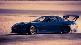 mazda, rx 7, blue, auto, speed - wallpapers, picture