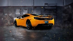 mclaren, mp4-12c, sparks, yellow, rear view - wallpapers, picture