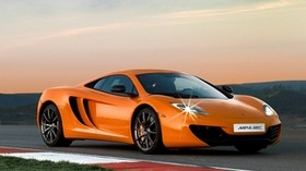 mclaren mp4-12c, track, orange, side view, dusk - wallpapers, picture