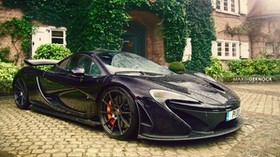 mclaren, p1, rain, paving stones, side view - wallpapers, picture