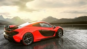mclaren, p1, red, rear - wallpapers, picture