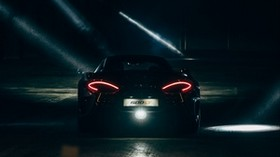 mclaren, sports car, lights, dark - wallpapers, picture