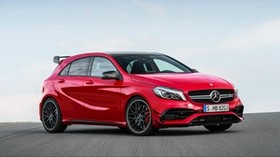 mercedes, amg, a-class, w176, red, side view - wallpapers, picture