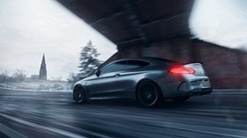 mercedes amg c63s, mercedes, sports car, gray, side view, track, speed - wallpapers, picture