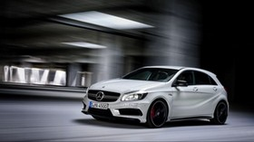 mercedes-benz, a45, amg, white, side view - wallpapers, picture