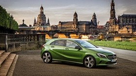 mercedes-benz, a-class, a200, w176, green, side view - wallpapers, picture