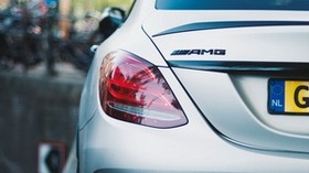 mercedes benz, amg, rear view, silver, lights - wallpapers, picture