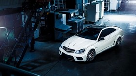 mercedes-benz, c63, amg, white, side view - wallpapers, picture