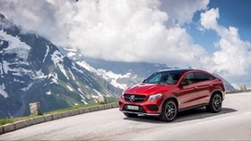 mercedes-benz, gle 450, amg, 4matic, coupe, red - wallpapers, picture