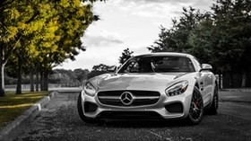 mercedes-benz, gt3, c190, silver, front view - wallpapers, picture