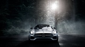 mercedes benz, mercedes-amg, front view, silver, forest - wallpapers, picture
