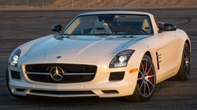 mercedes-benz, sls, 63, amg, gt, white, convertible, side view - wallpapers, picture