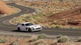 mercedes-benz, sls, amg, white, motion, road - wallpapers, picture