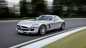 mercedes benz, sls, mercedes, sls, gray, road, speed, blurred - wallpapers, picture