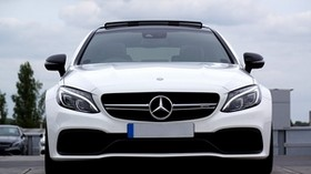 mercedes c63 amg, mercedes, car, white, front view - wallpapers, picture