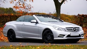 mercedes e-class, convertible, side view, autumn - wallpapers, picture