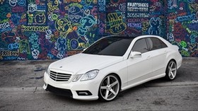 mercedes, e class, tuning, white, graffiti - wallpapers, picture