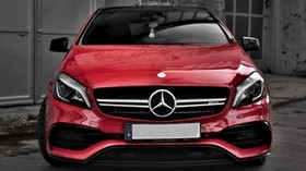 mercedes, car, red, front view, building, gray - wallpapers, picture