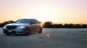 mercedes, s63 amg, front view, sunset - wallpapers, picture