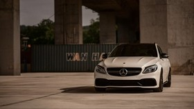 mercedes-amg c 63, mercedes, car, white, front view - wallpapers, picture