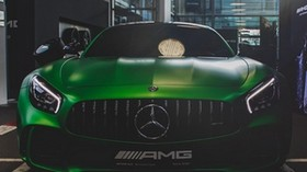 mercedes-amg, mercedes, green, front view - wallpapers, picture