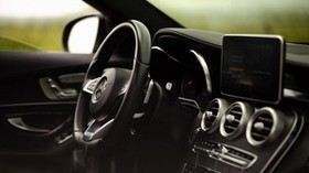 mercedes-benz c300 amg, mercedes, car, salon, steering wheel, control panel - wallpapers, picture