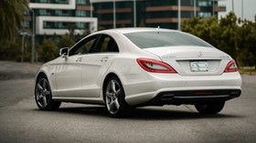 mercedes-benz cls350 amg, mercedes, car, white, buildings, city - wallpapers, picture