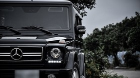 mercedes-benz g500, brabus, suv, luxury, black, front view - wallpapers, picture