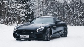 mercedes-benz, mercedes, black, snow, forest - wallpapers, picture
