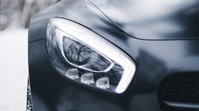 mercedes-benz, mercedes, headlight, black - wallpapers, picture