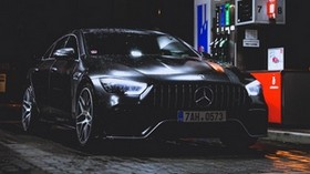 mercedes-benz, mercedes, refueling, rain - wallpapers, picture