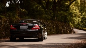 mercedes-benz sl350 amg, mercedes-benz, car, convertible, black, rear view - wallpapers, picture