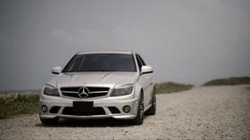 mercedes-benz w204, mercedes, car, gray, front view, road - wallpapers, picture