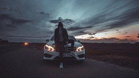 mercedes, man, mask, hood, car - wallpapers, picture