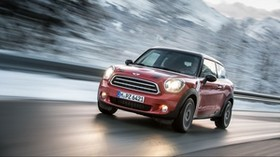 mini cooper, red, side view, motion - wallpapers, picture