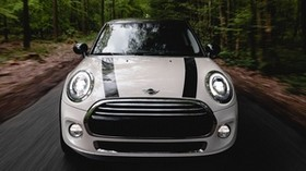mini cooper, machine, white, front view, movement, speed - wallpapers, picture
