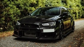mitsubishi lancer evolution, mitsubishi, black, front view - wallpapers, picture