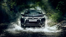 mitsubishi, pajero, river, front view - wallpapers, picture