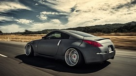 nissan, 350z, stance, movement, speed, side view - wallpapers, picture