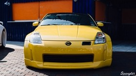 nissan 350z, yellow, sports car, front view, tuning - wallpapers, picture