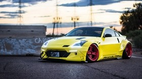 nissan 350z, yellow, side view - wallpapers, picture