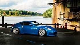 nissan, 370z, blue, side view - wallpapers, picture