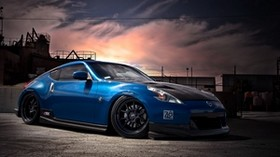 nissan, 370z, tuning, blue, side view - wallpapers, picture