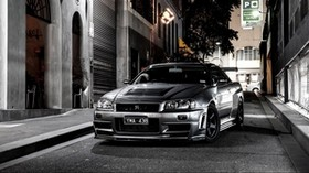 nissan, auto, gray, street - wallpapers, picture